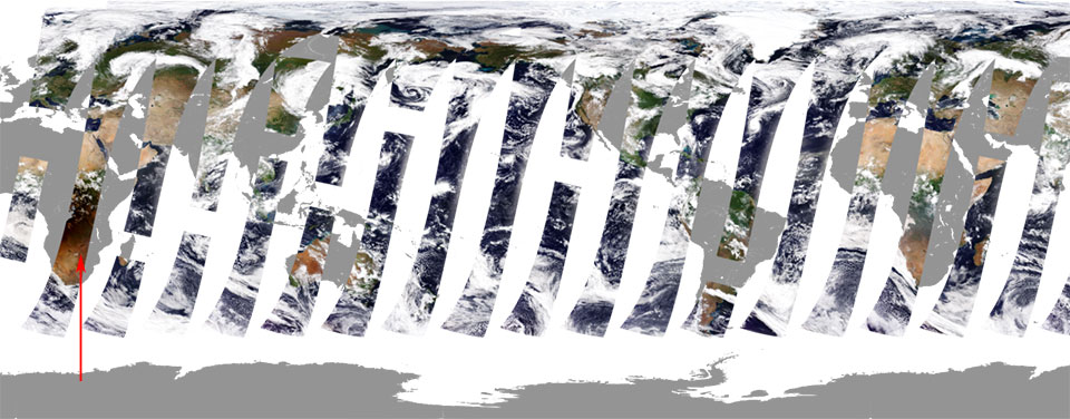 24 hours of passes of Sentinel-3 OLCI