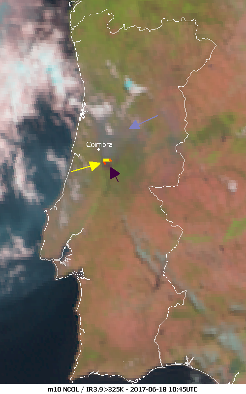 Meteosat-10 Natural Colour RGB and infrared, 18 June 10:45 UTC.
