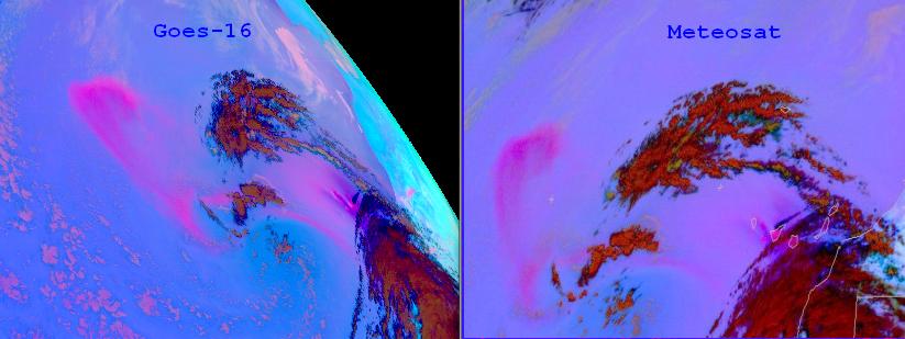 Comparison of Meteosat-11 Dust RGB (right) with GOES-16 Dust RGB (left), 23 Feb 14:45 UTC.