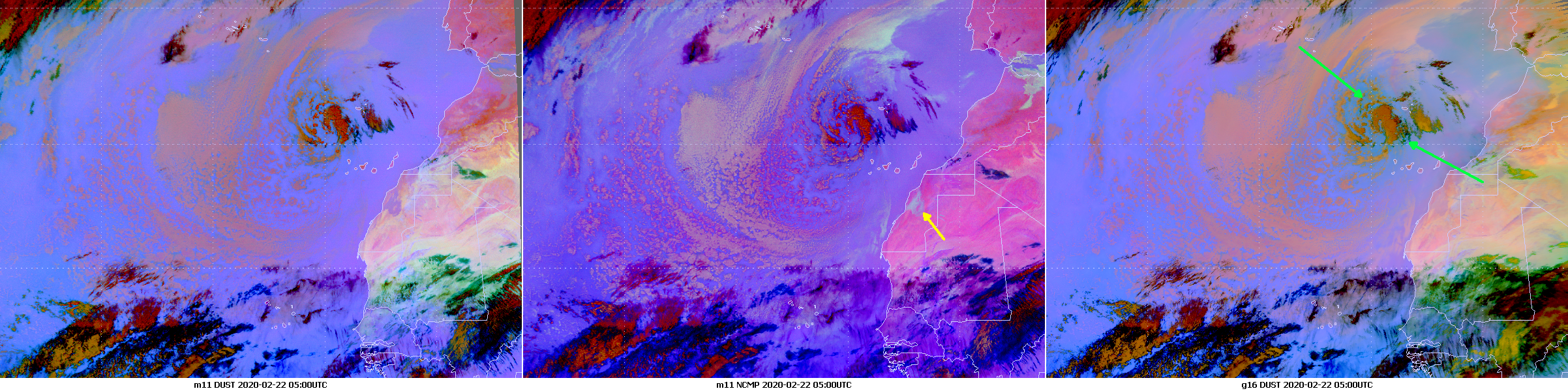 Dust and NCMP composites from Meteosat-11 (left and centre) and GOES-16 (right panel), 22 Feb 05:00 UTC.