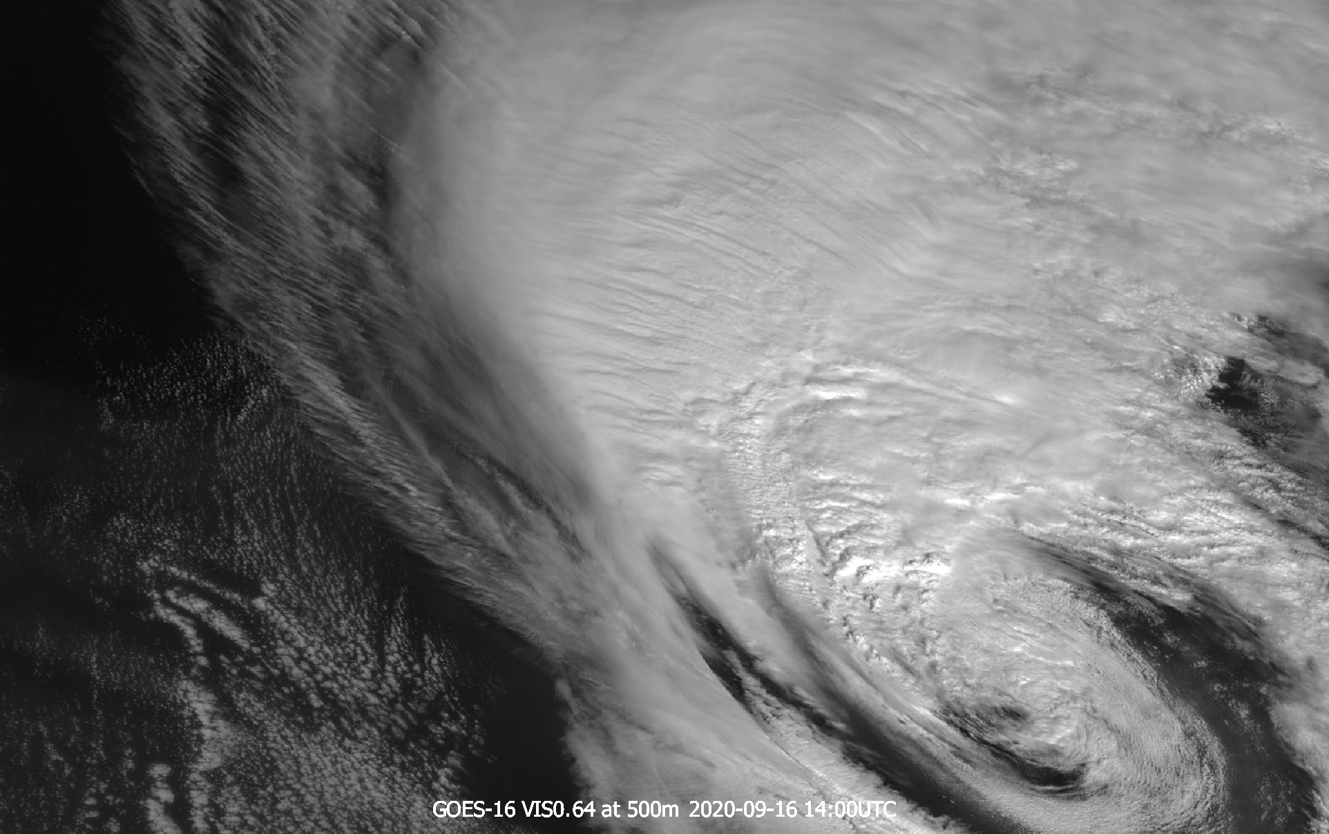 GOES-16 VIS0.64 channel with resolution of 500 m, 16 September 2020, 14:00 UTC