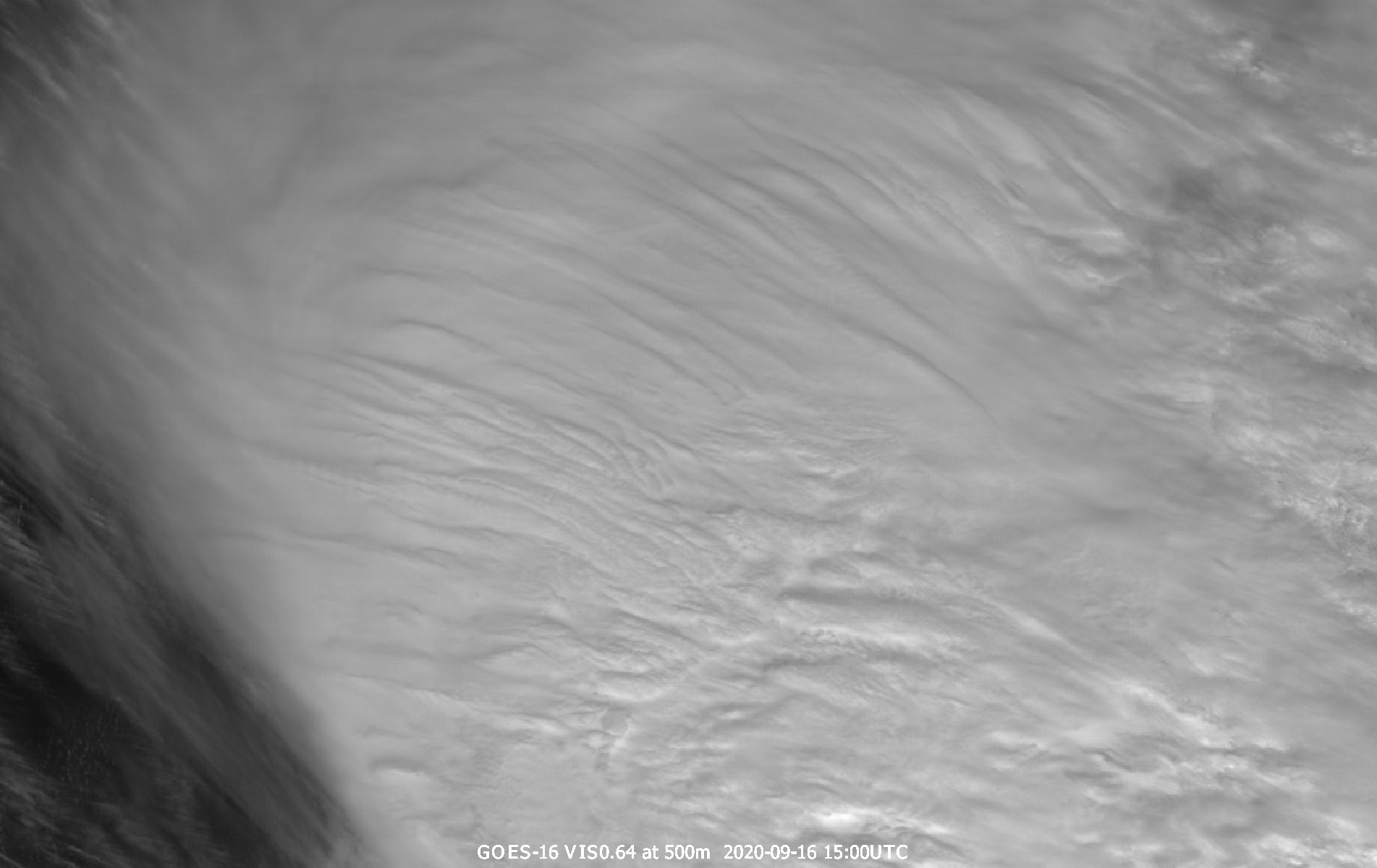 GOES-16 VIS0.64 channel with resolution of 500 m, 16 September 2020, 15:00 UTC