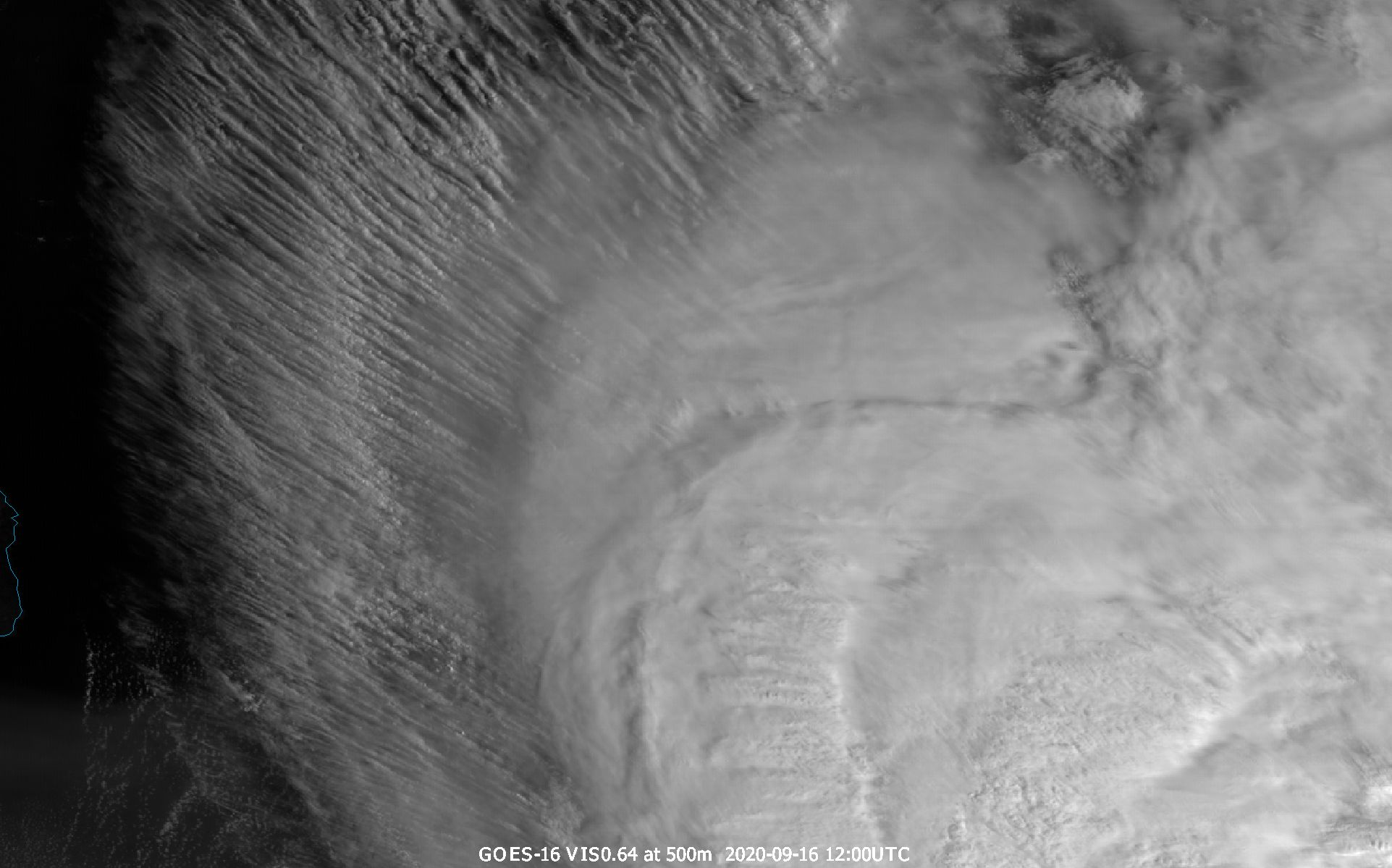 GOES-16 VIS0.64 channel with resolution of 500m, 16 September 2020, 12:00 UTC