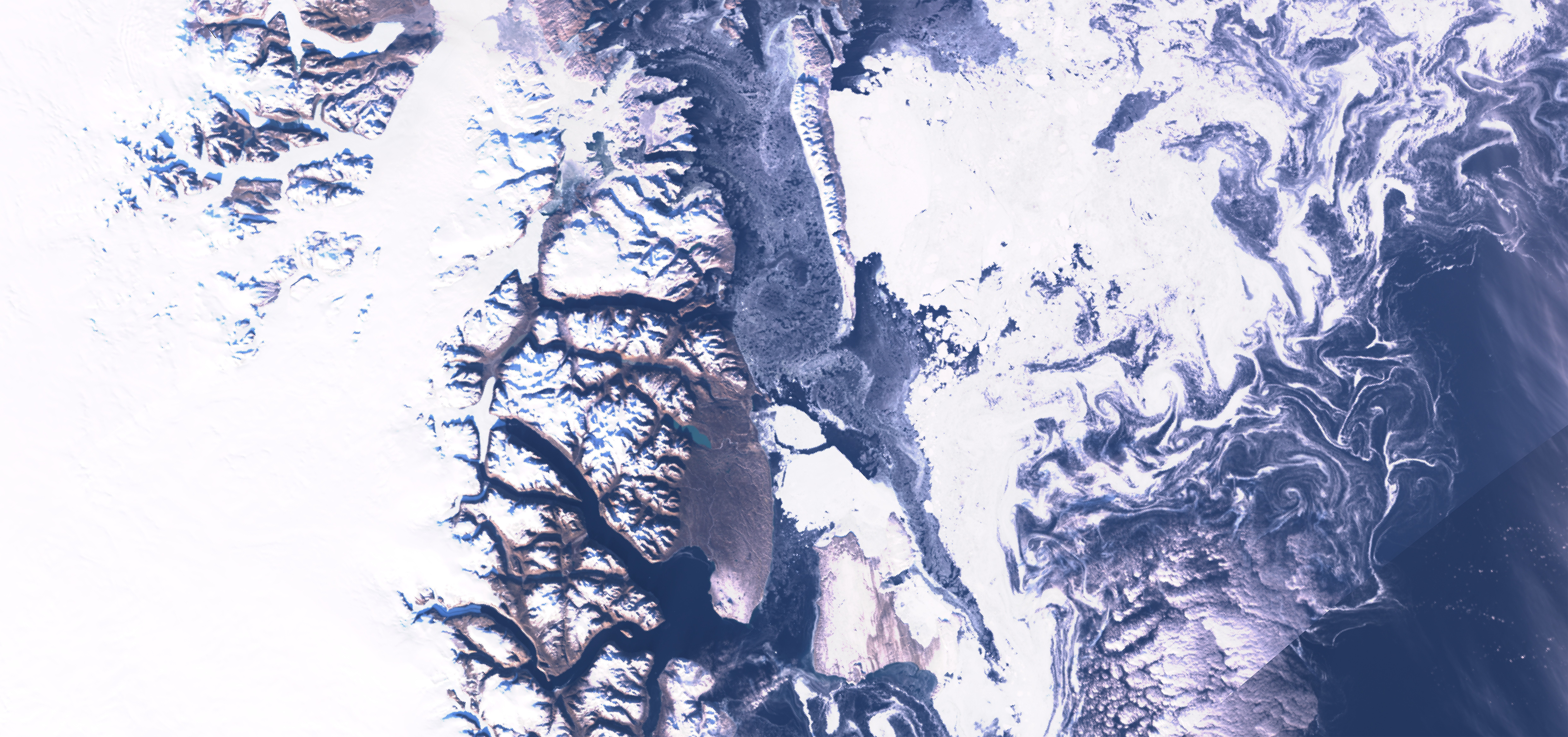 Sentinel-3B OLCI True Colour RGB, 25 September, 13:35 UTC, showing land and sea ice conditions around the minimum extent of seasonal ice cover off Greenland.