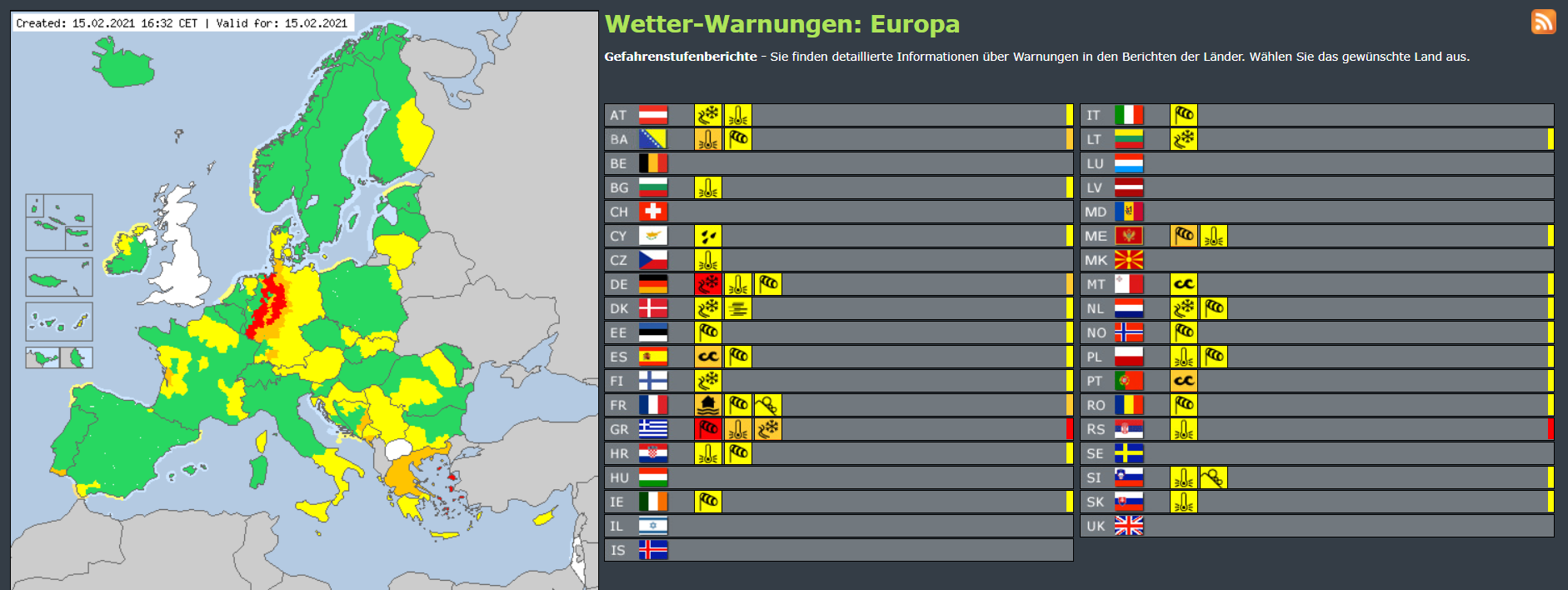 Meteoalarm weather warnings, 15 February 2015