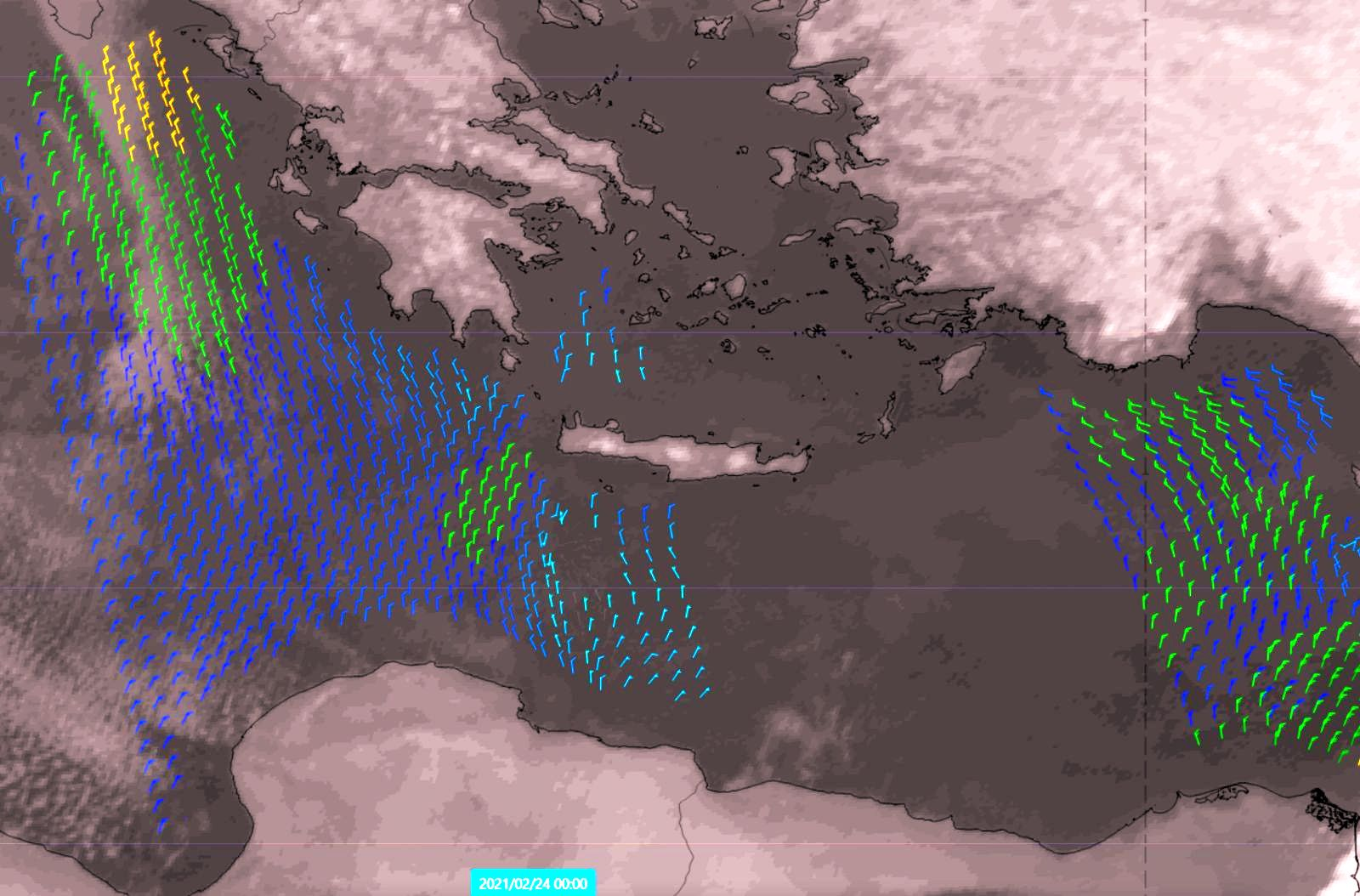 Metop-A and -B ASCAT 24 Feb 2021
