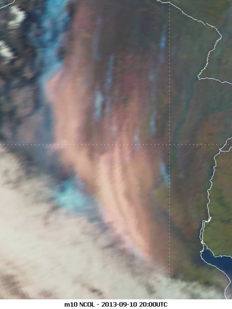 Smoke and dust streamers over Argentina as seen by Meteosat-10